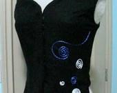 Black Wool Off-the-Shoulder Vest Hand-Crafted Detailing - SpeersDesigner