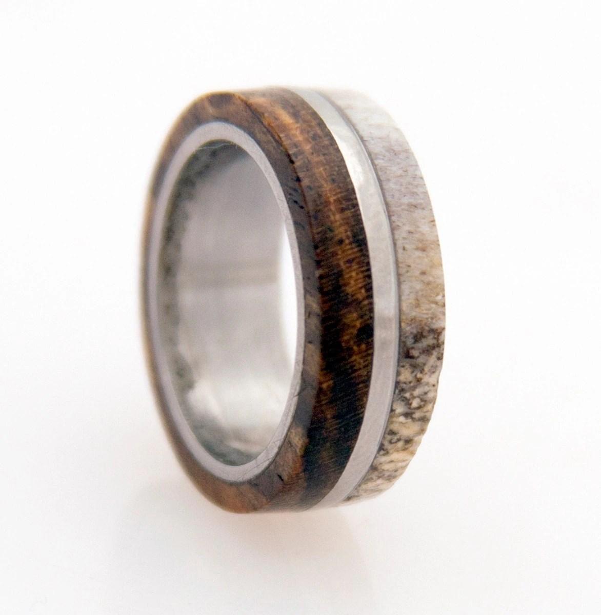 Antler Ring Titanium Ring With Wood Bocote Deer By