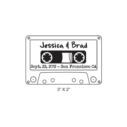 Cassette Tape Retro Custom Wedding Save the Date Rubber Stamp AD235 - AsspocketProductions
