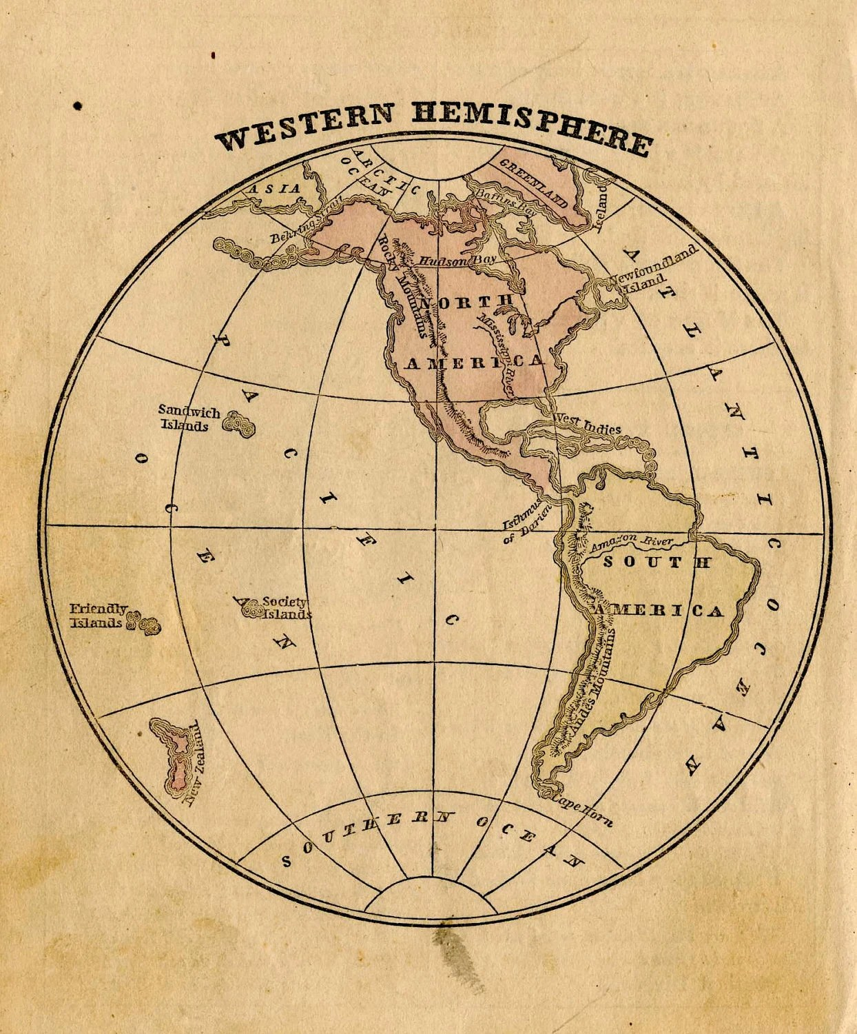 Western Hemisphere Globe Map Original By
