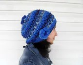 Knitted Slouchy Hat, Cobalt Blue Hat,Winter Hat, Ribbed Chunky Hat, Beanie, Beret,Winter Accessory,Sapphire - SmilingKnitting