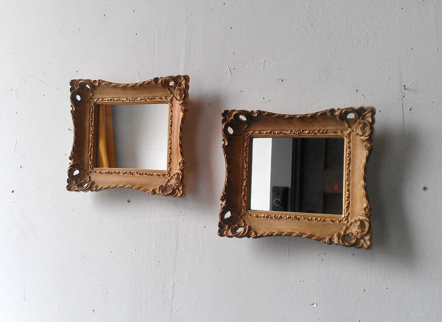 Framed Mirror Set In Small Vintage Gold Frames