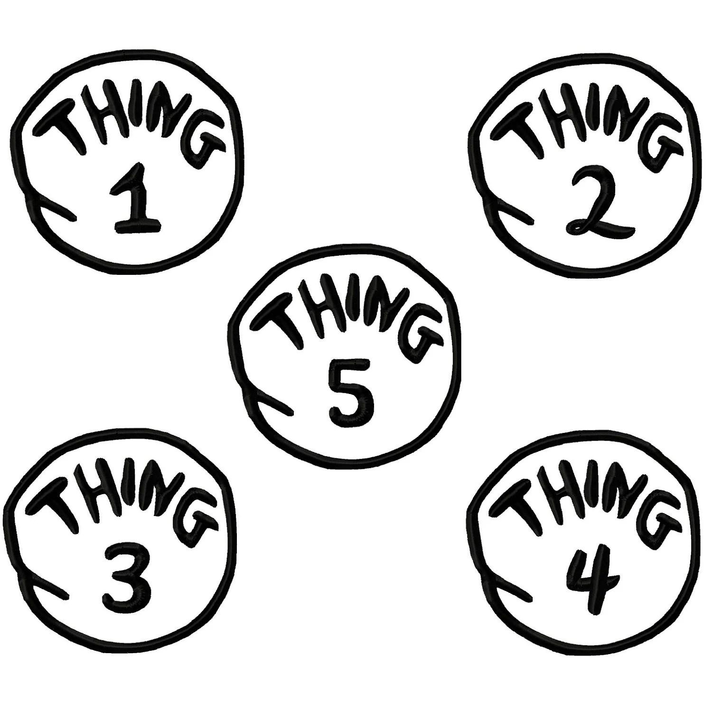 Thing 1 2 3 4 5 Applique Machine Embroidery By Digitizingdolls