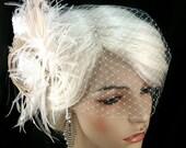 Great Gatsby Wedding, Bridal Feather Fascinator- Bridal Headpiece, Wedding Fascinator, Feather Fascinator, Gold-tone Rhinestone Center