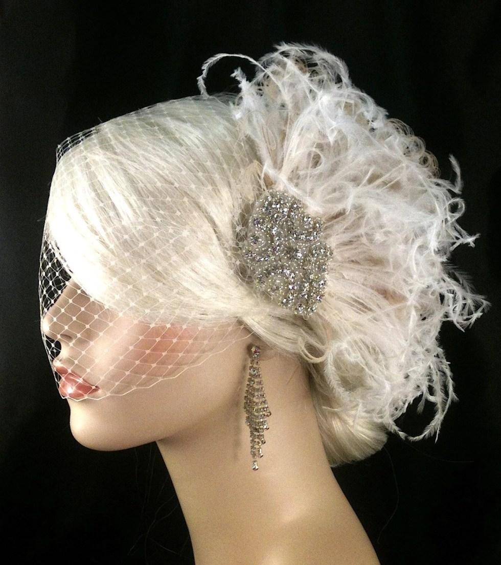 Hollywood Glitz  2-  Bridal Fascinator, Rhinestone Hair clip, Feather Fascinator, Bridal Veil, Wedding Veil, Hair Clip, Ivory Fascinator