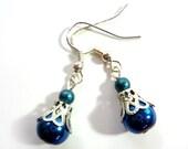 Pretty Deep Metallic Blue Earrings - Glamour365