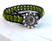 Daisy in Fields of Green: Olivine Beaded Leather Wrap Bracelet - GloryGift