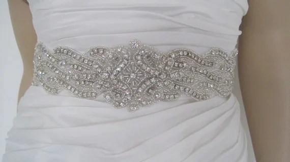 Wedding Dress Sash Belt Rhinestone Black White Gold Ivory