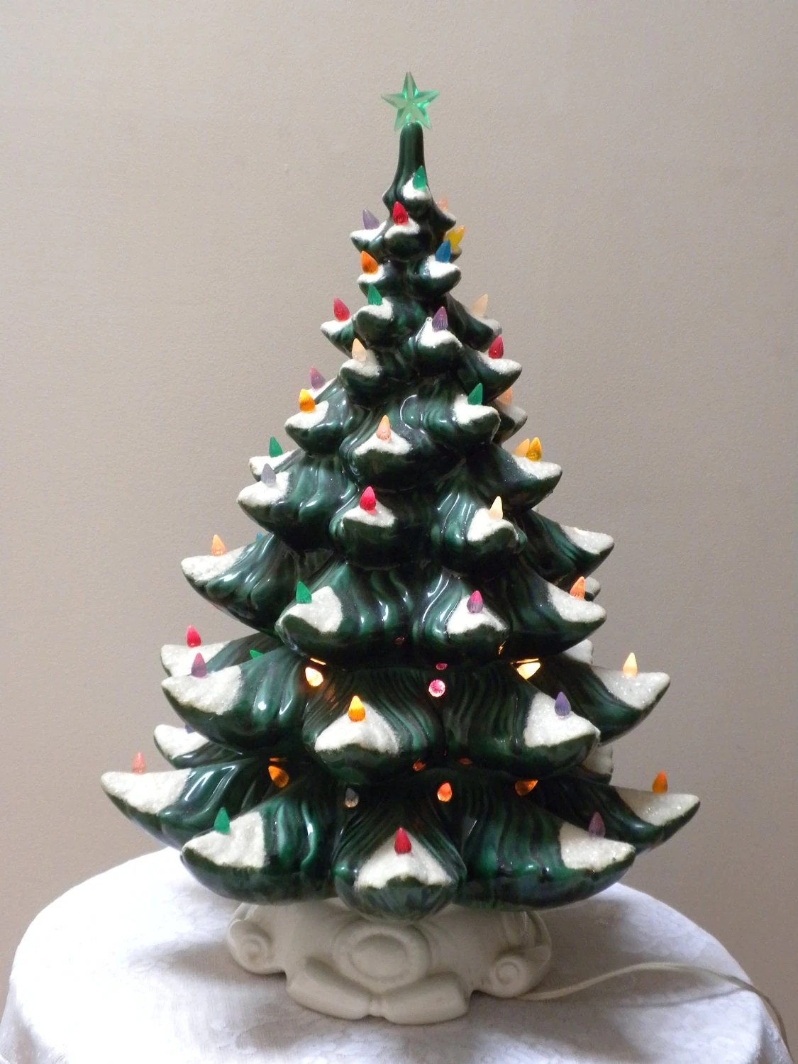 Vintage Ceramic Christmas Tree With Musical Box 22 Inches