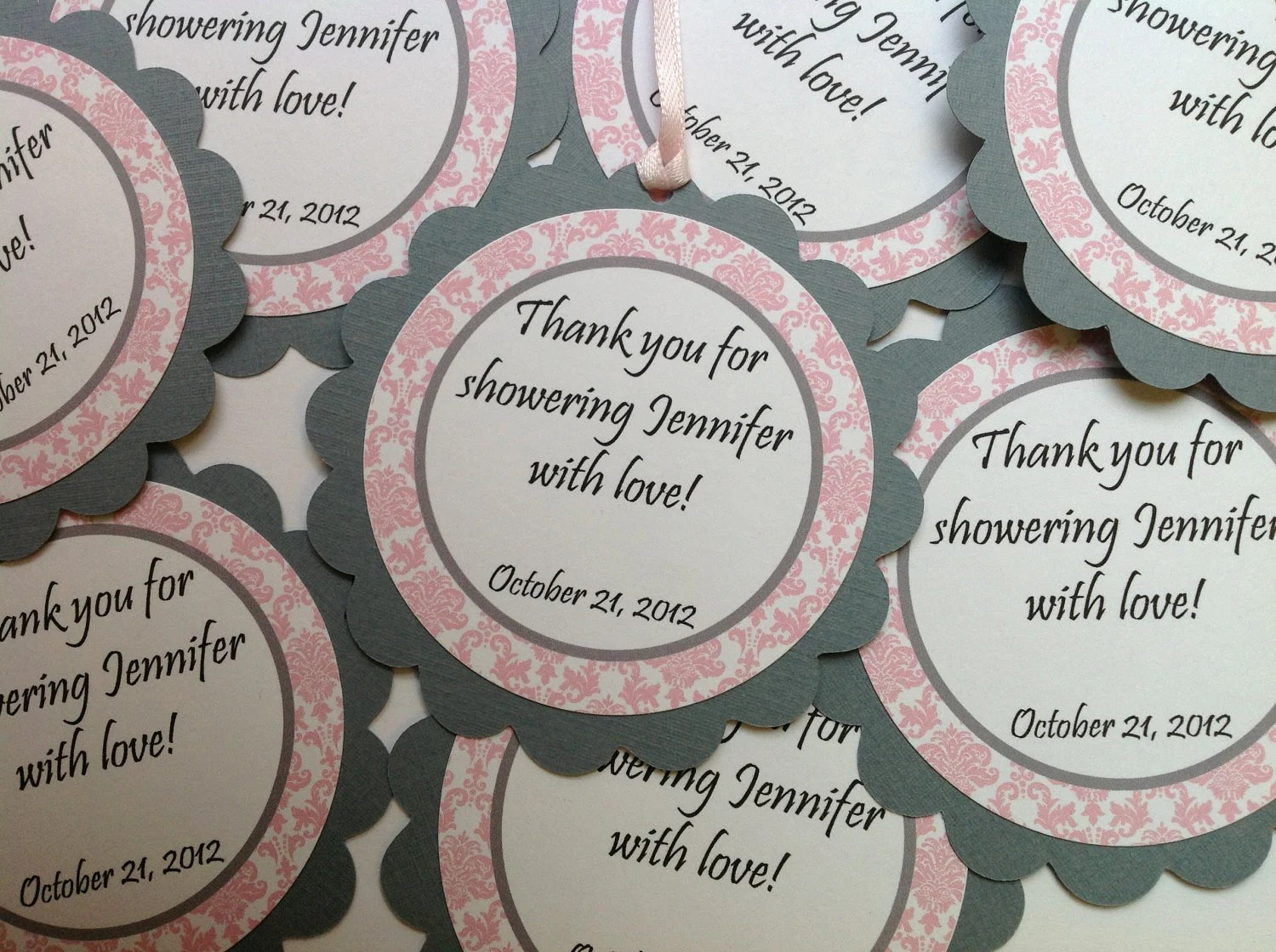 Baby Shower Favor Tags It's A Girl Pink And Gray Damask
