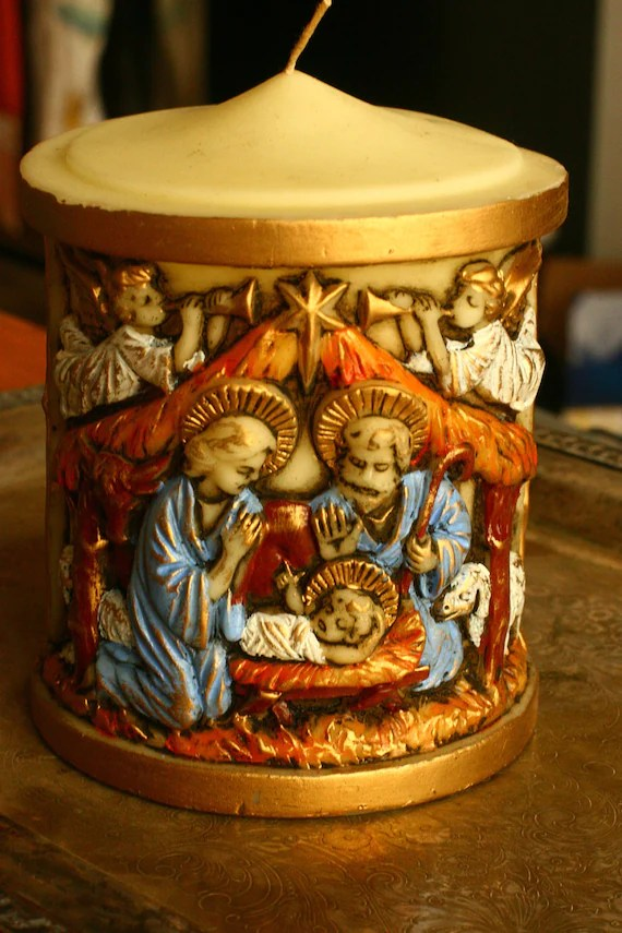 20 OFF SALE Large Vintage Nativity Candle Christmas
