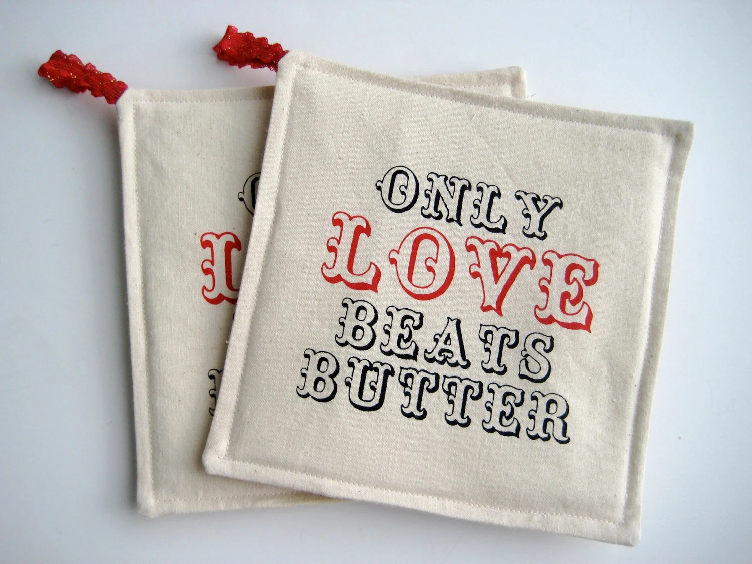 Red Pot Holder Screen Print Set for Wedding or Anniversary