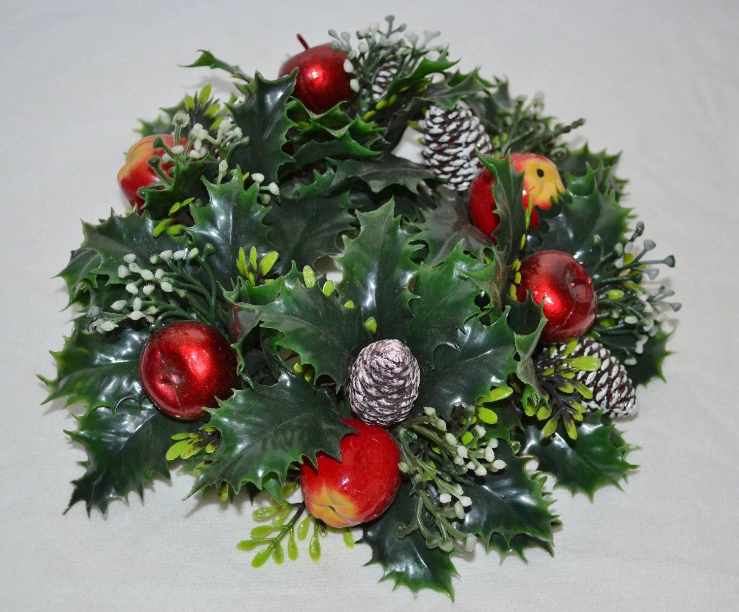 Vintage Christmas Candle Ring Wreath Pinecones Apples