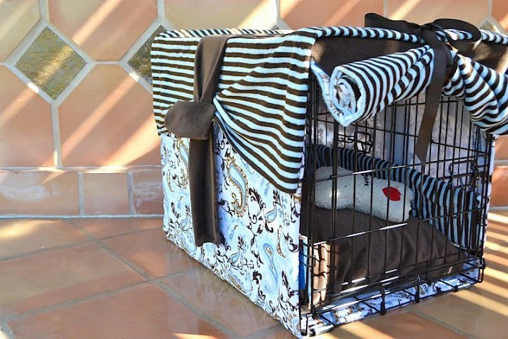 "Minky Dog Crate Cover 42"" EXTRA Large  ... ""KNOT CLASSIC"" - ReinventingOrdinary"