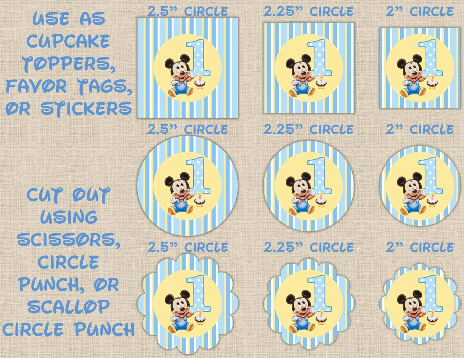 Instant Download Striped Baby Mickey Mouse By Maryspartydesigns