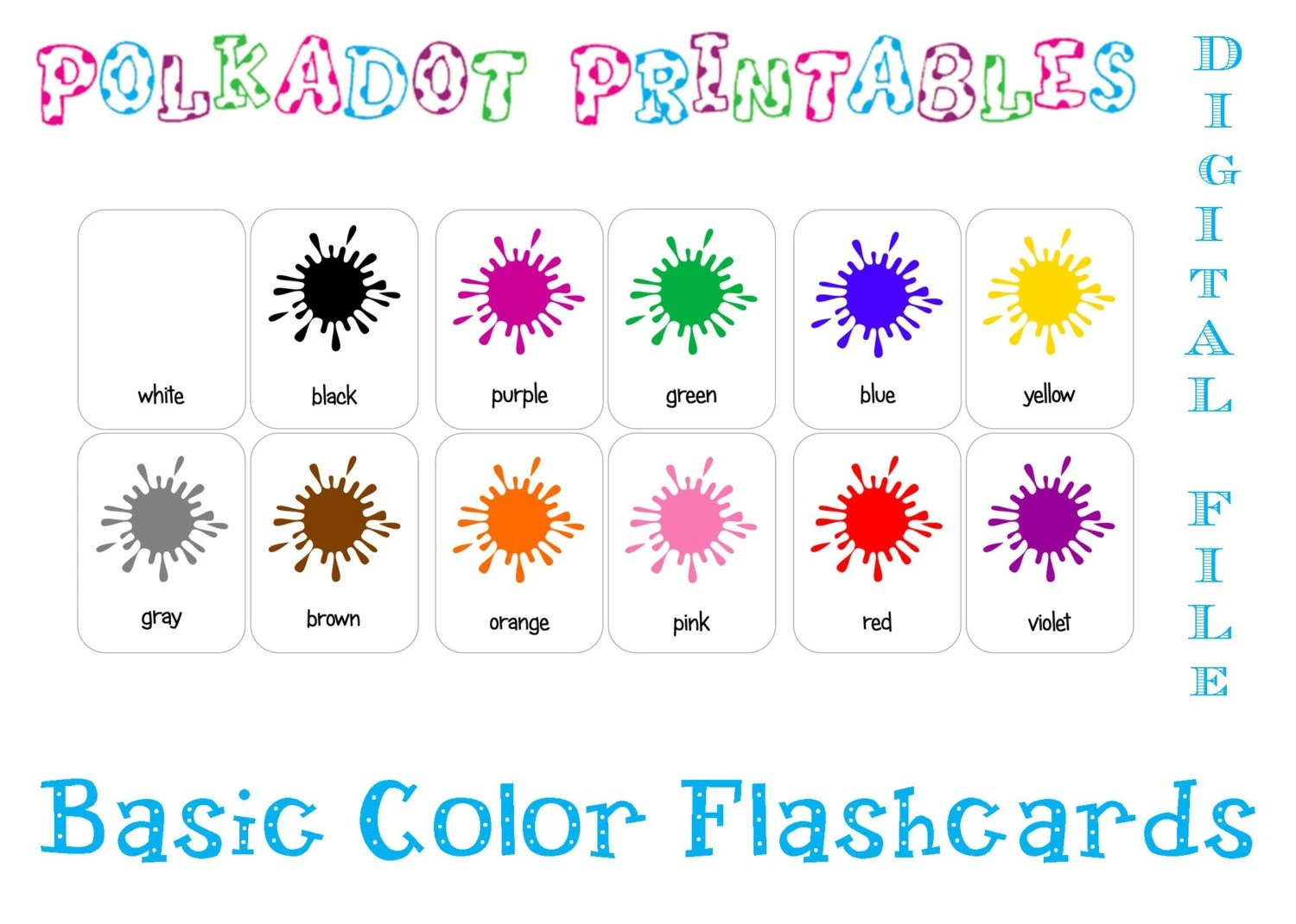 Printable Basic Color Paint Splash Flashcards Set Of 12