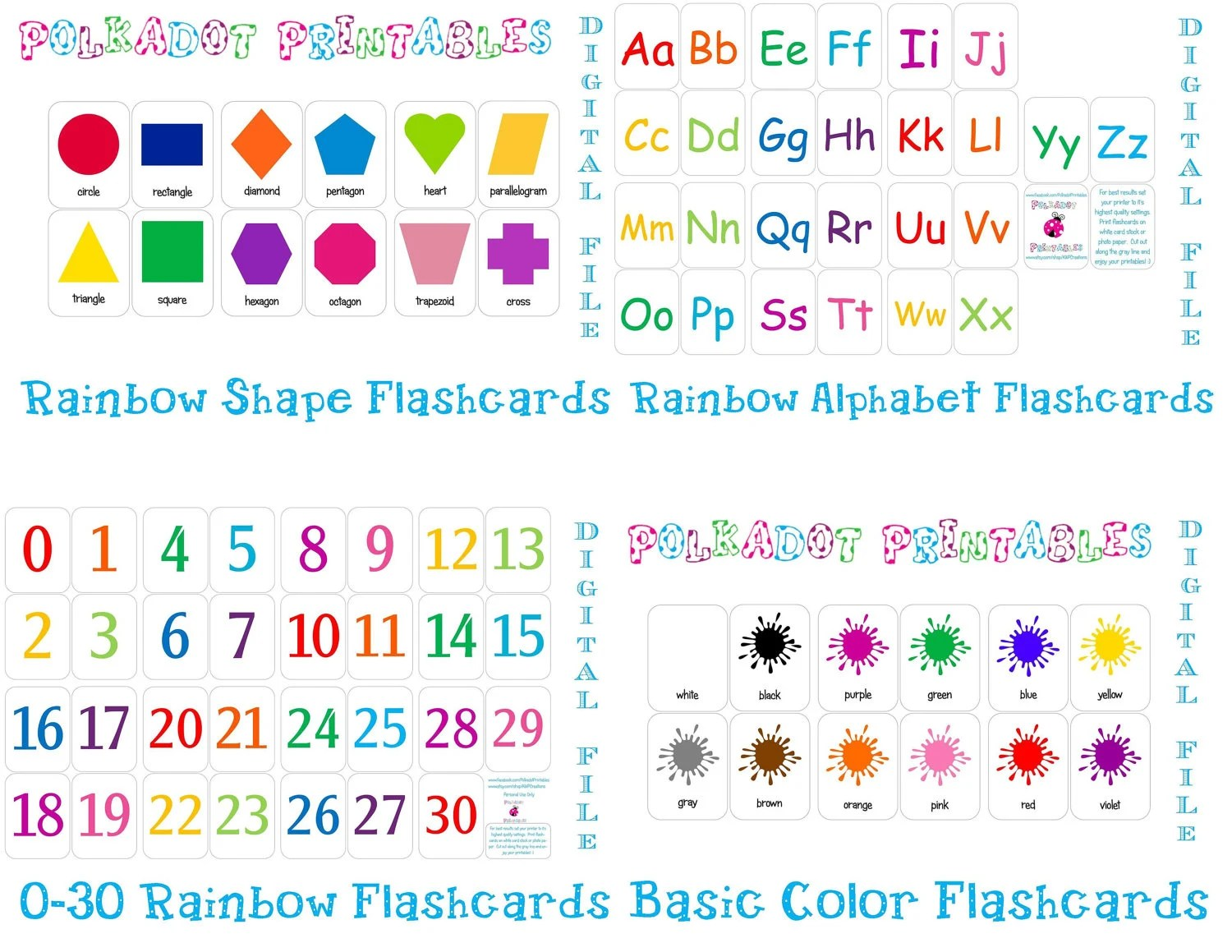 Printable Flashcards Combo Pack Instant Download