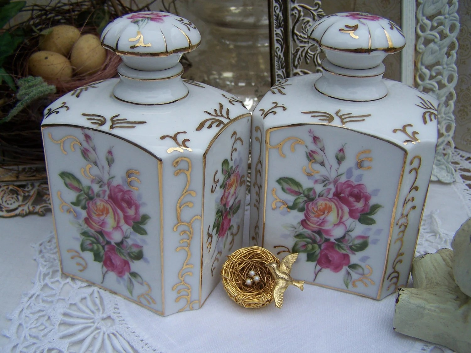 Vintage Hand Painted Rose Porcelain Perfume By