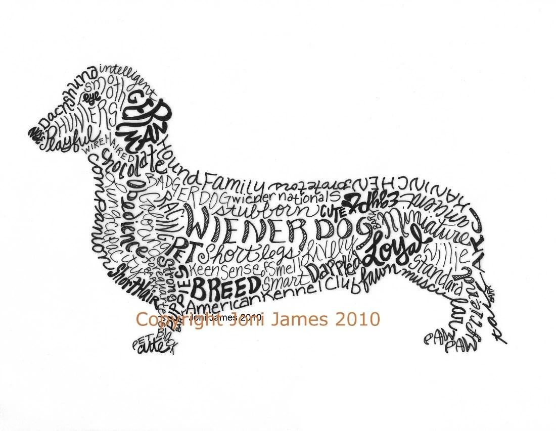 Dachshund Art Print Wiener Dog Art Calligram By Calligramorama