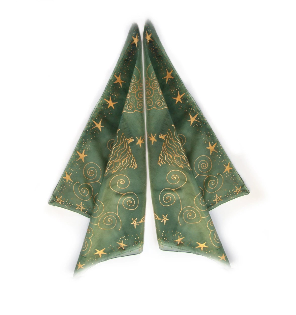 Christmas green scarf with golden stars-Woman silk scarf-Hand painted green silk scarf-Small square scarf Christmas motif - klaradar