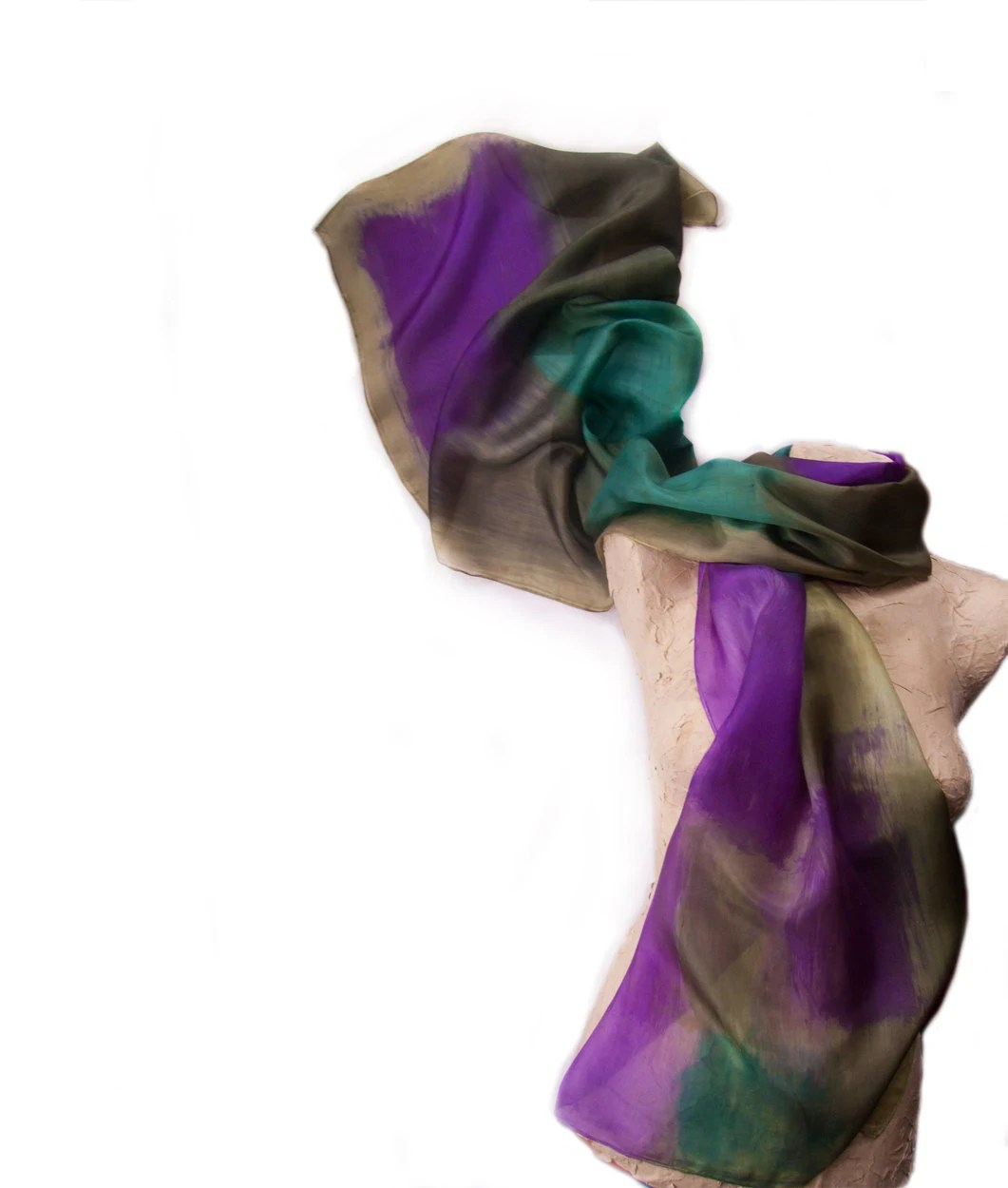 Hand painted silk scarf. Purple,teal and military green silk scarf. Abstract silk scarf. Luxury handpainted silk scarf by Dimo OOAK - klaradar