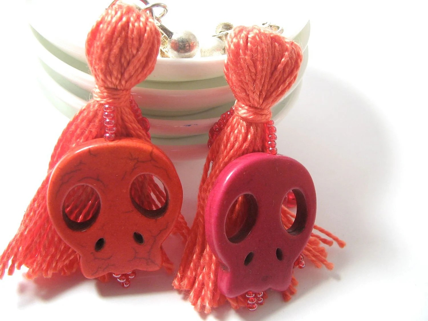 Image: Coral Pink Sugar Skull Beaded Tassel Earrings