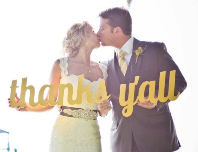 Thanks Y'all Wedding Sign - Wooden Thank You Prop Signage Yellow or Custom Color - ZCreateDesign