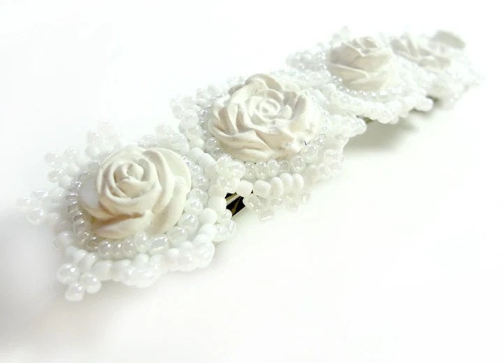 Bridal Hair Clip - Beaded Barrette with White Polymer Clay Roses - MegansBeadedDesigns