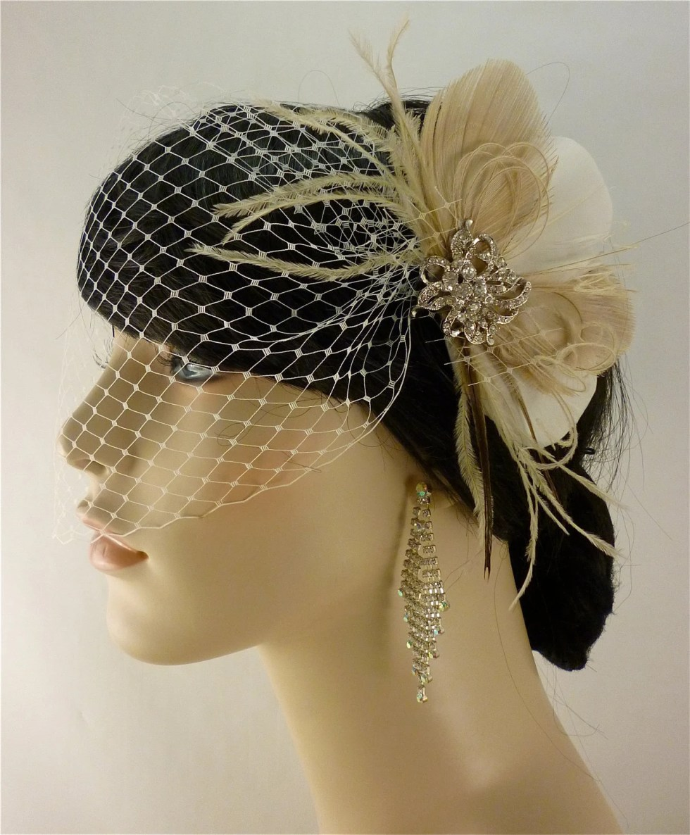Bridal Feather Fascinator with Brooch, Bridal Fascinator, Wedding Hair Accessories, Fascinator, Bridal Veil, Ivory, Champagne and Nude