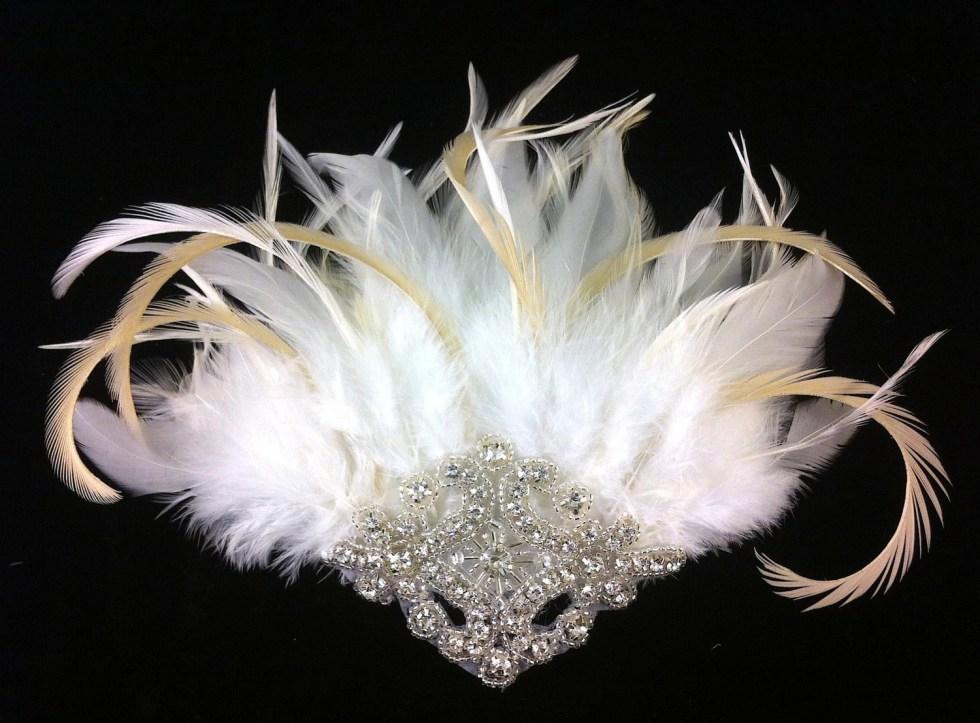 Wedding Hair Clip, Bridal Fascinator, 1920s headpiece, Great Gatsby Wedding, Wedding Veil