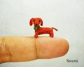 Miniature Dachshund Sausage Dog - Teeny Tiny Dollhouse Crochet  Pet - Made To Order - SuAmi