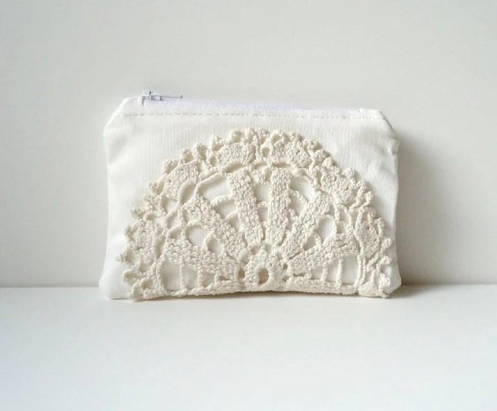 White Zipper Clutch Vintage Crochet Doily - iPhone Case - White Bridal Clutch - JuneberryStitches