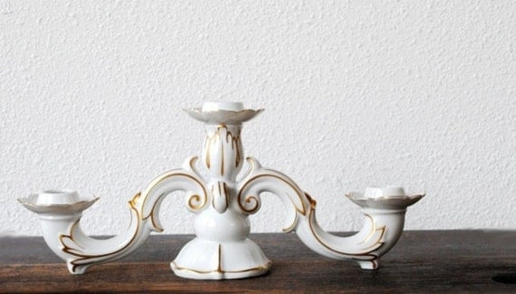 West German Porcelain White Candelabra By Vintageeclecticity