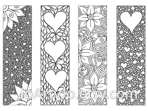Valentines Bookmarks To Print And Color Zentangle