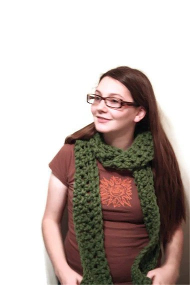 Green Skinny Scarf, Wool Blend Scarf Bulky and Oversized in Asparagus, Winter Fashion - whiskeyish