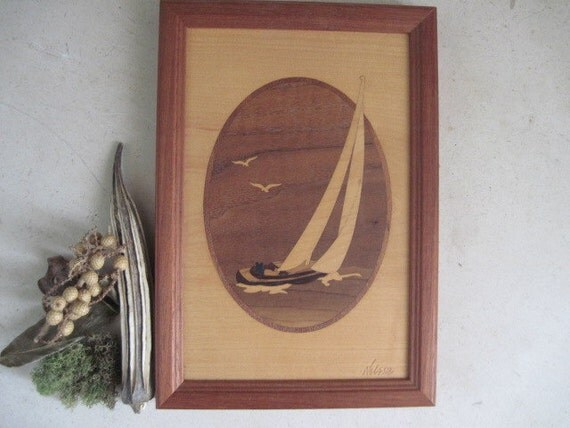 Vintage Hudson River Inlay Wood Marquetry Sailboat Wall Art