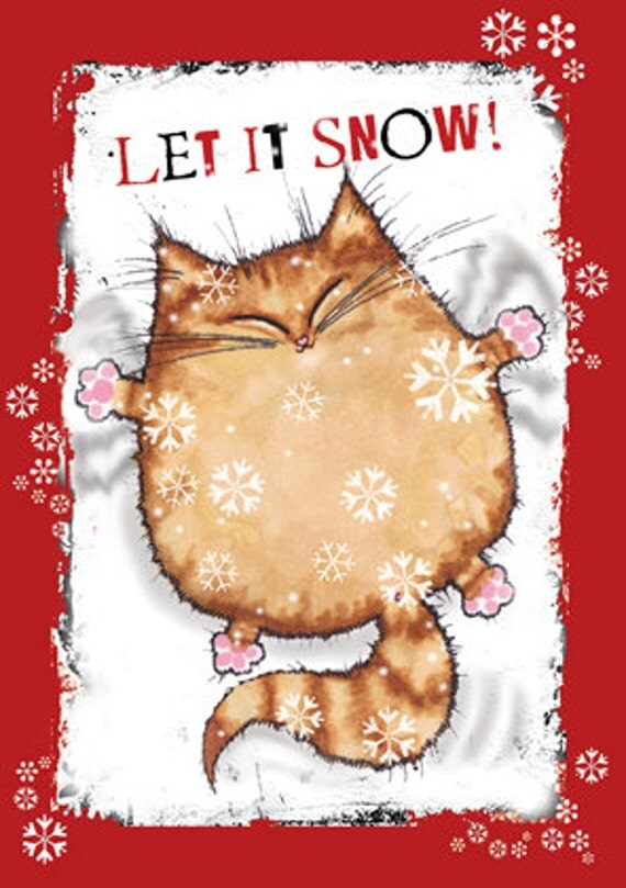 Items Similar To LET IT SNOW Cat Christmas Card On Etsy