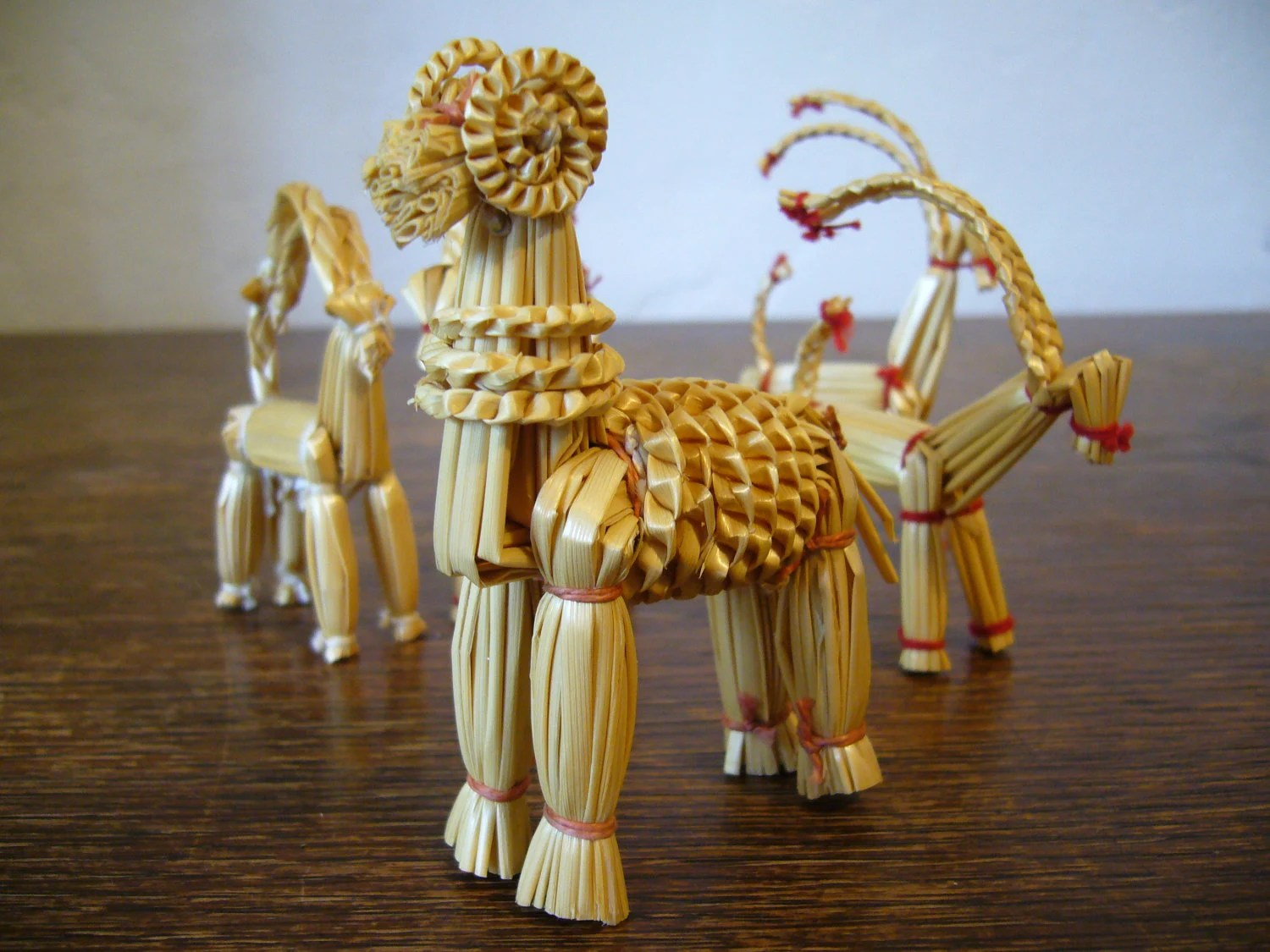 Vintage Scandinavian Straw Goat Ornament Family Of 5