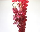 Deep Red Garnet Glass Lariat With Gold Wirework - Leeladoo