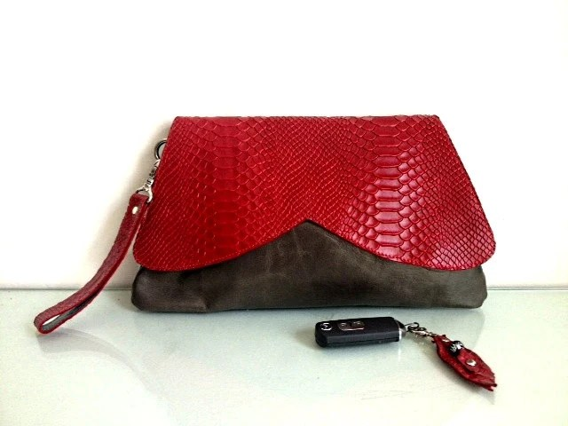 Women leather clutch, purse,wristlet, wallet, red & grey color - KishaDesigns