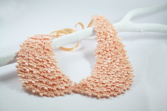 Detechable Collar Necklace, Peach Color Peter Pan Collar, Flowers Embroidered - SHECHICEXCLUSIVE