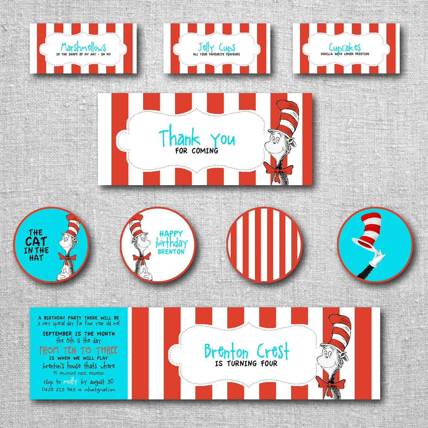 Kids Birthday Invitation Cat In The Hat Set By