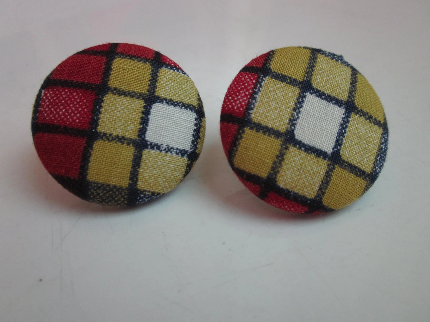 Fabric Covered Button Earrings Colorful Art Deco Squares