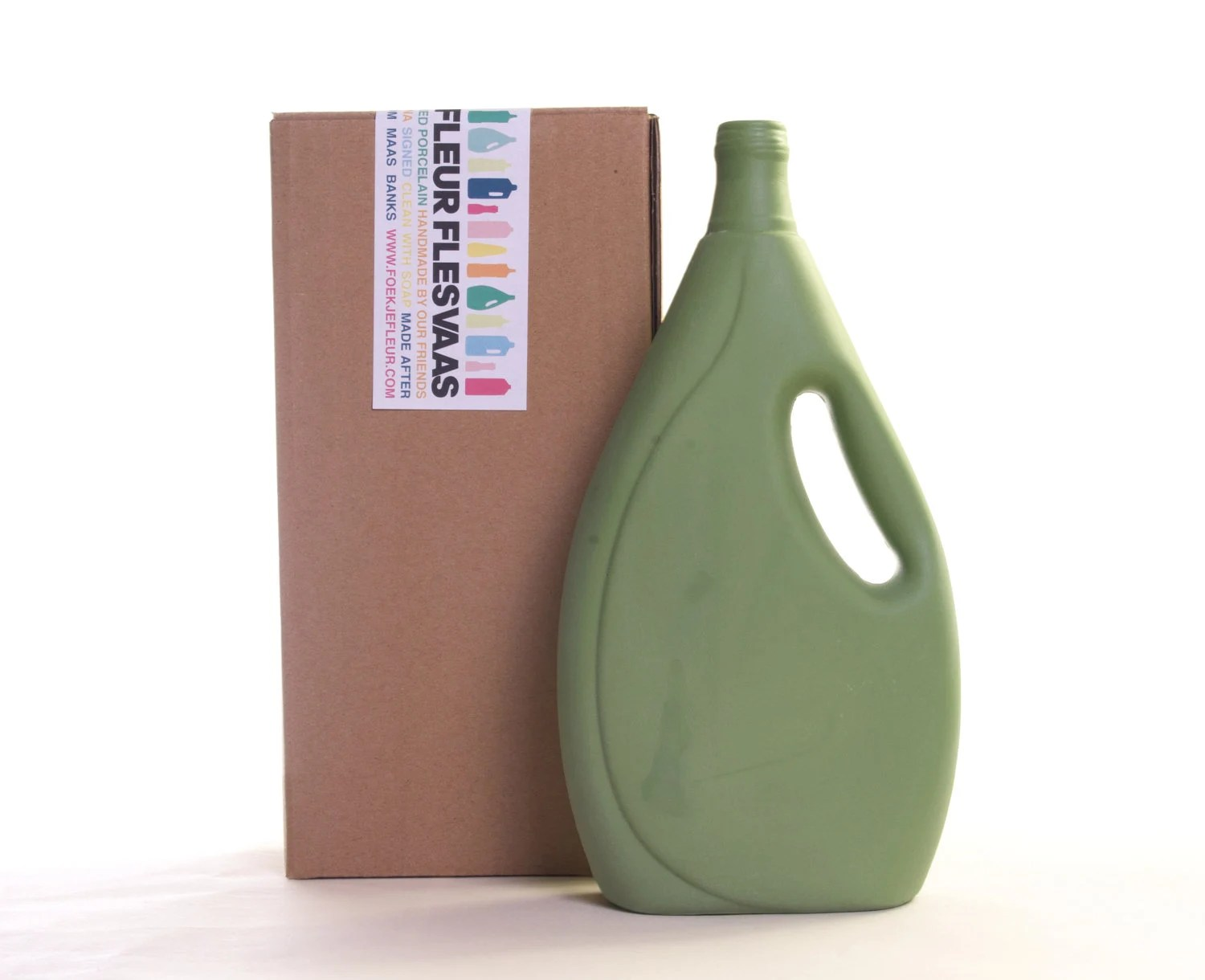 Porcelain Bottle Vase 7 Dark Green