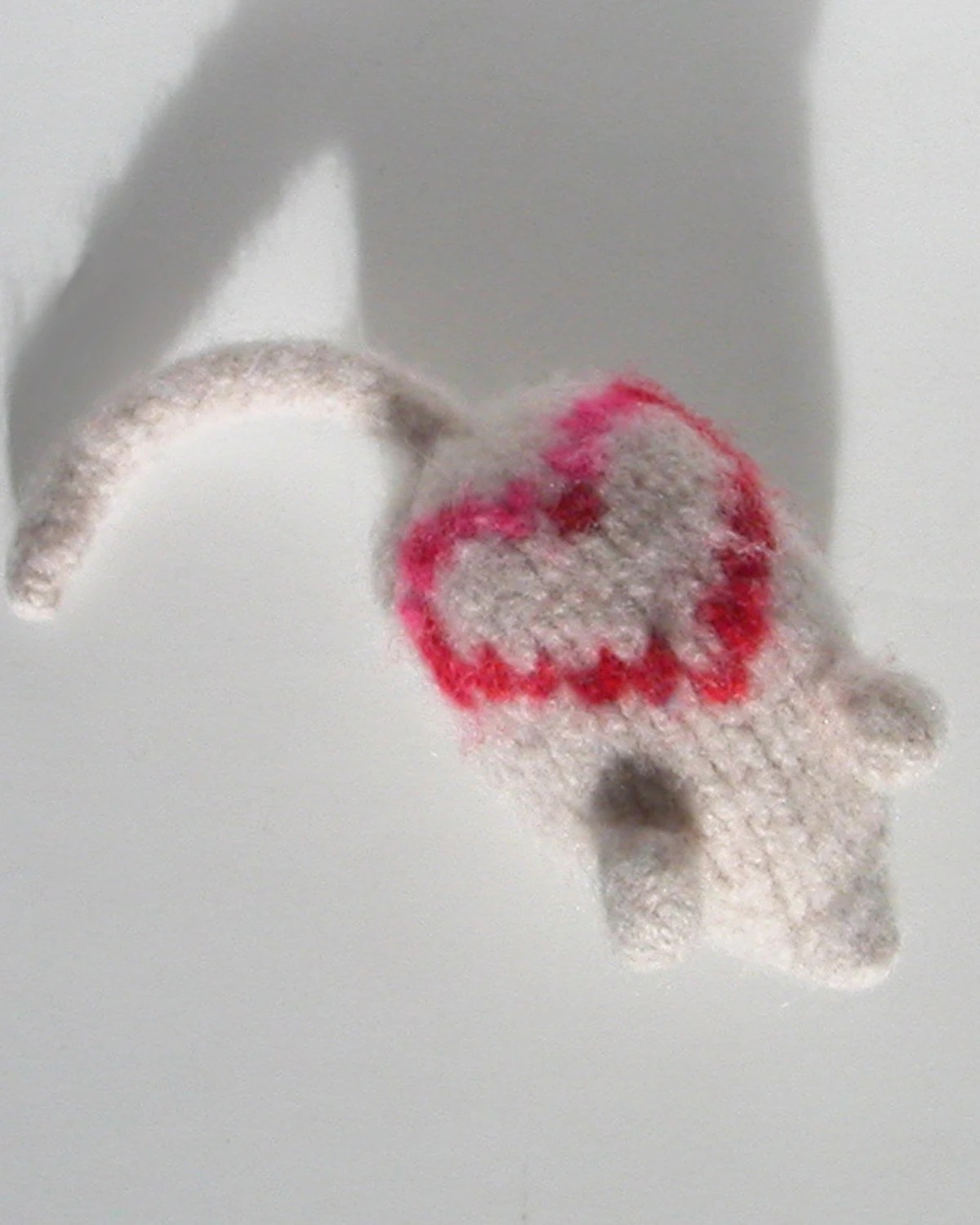Love - Catnip Mouse - Hand Knit Red Wool Cat Toy