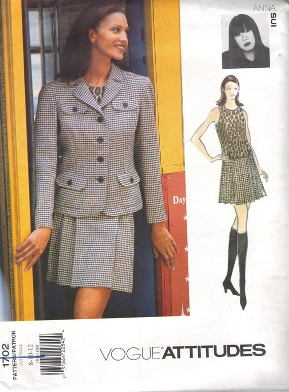 1990s Anna Sui jacket and pleated skirt pattern - Vogue 1702