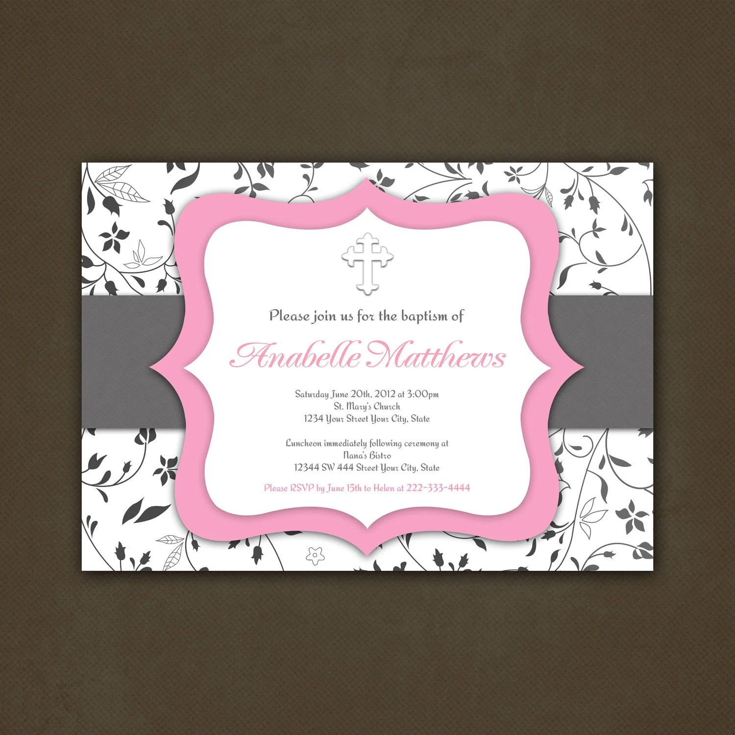 Items Similar To Printable Baptism Or First Communion Invitation Pink And Grey Vines Girl