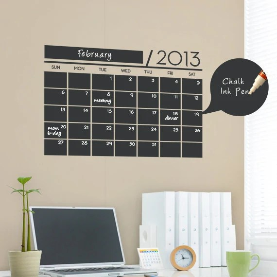Small Wall Calendar Decal - Chalkboard Decal - by Simple Shapes