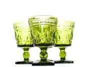 Vintage Green Glassware Set Green Wine Goblets Free Shipping - merrimentvintage