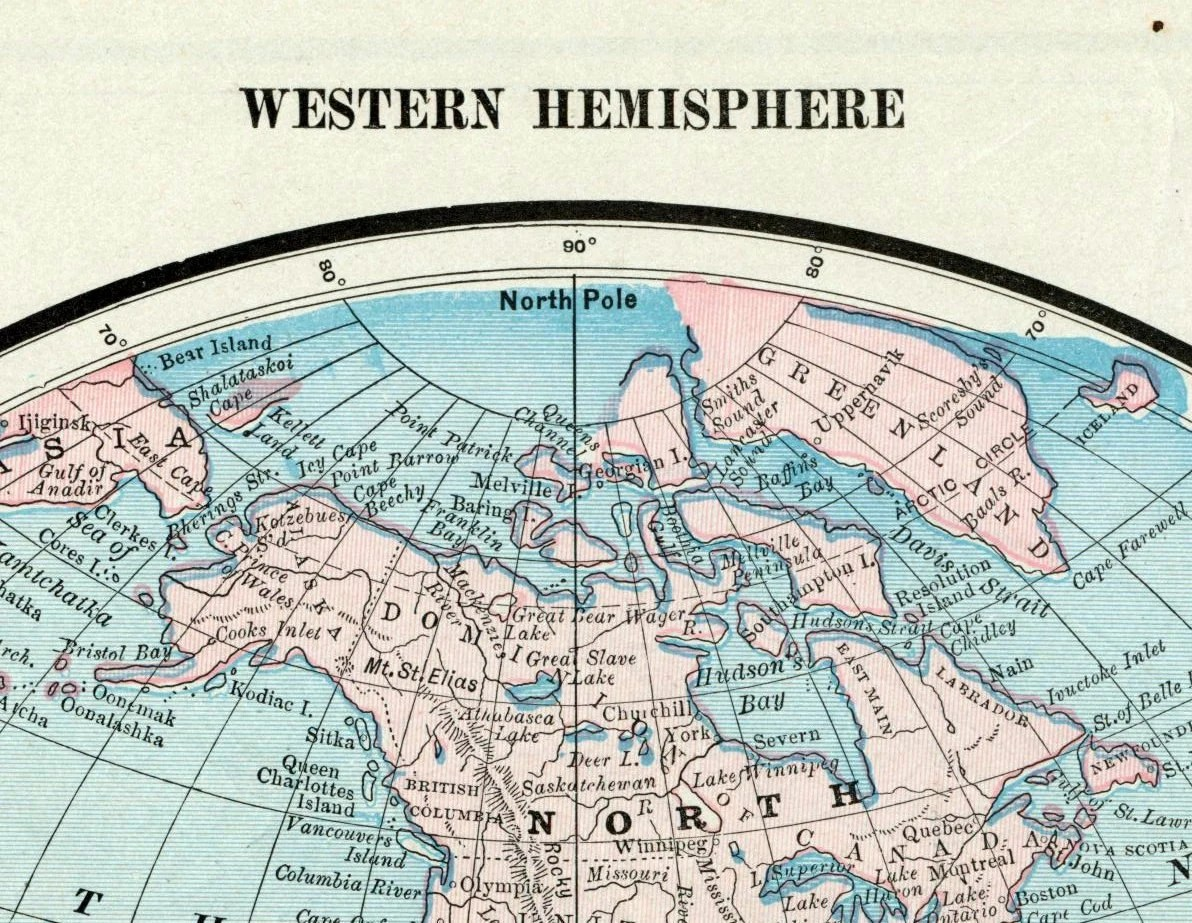Antique Map Of The World Western Hemisphere
